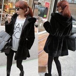 2018 women winter long blend mink coat both sides wear velvet fur hooded  coats slim warm coat black spring clothing plus size f38c4400f