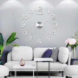 2019 navires cloches Bricolage 12v numérique Grand Horloge murale Décoration Miroir Horloge murale autocollant vinyle Design moderne horloge sur le mur pour Living Room Y200110