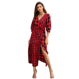 013b0a2026d62 Cross-border for Amazon and Europe and the explosion of 2019 early spring  new women s plaid long-sleeved vintage dress