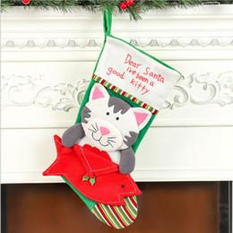 sacos em forma de cão Desconto Novo Estilo de Festa de Natal Festivo Suprimentos Original Bonito Do Cão Do Gato Forma de Natal Meia de Doces Saco de Presente