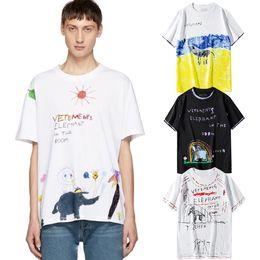 Disegno donna di stampa online-2019 Vetements T-shirt Elephant in the Room Stampa T-shirt a maniche corte Disegno a pastello colorato 100% cotone Camicia Uomo Donna Streetwear LWI0412