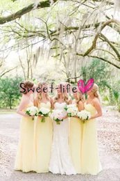 Светло-желтое шифоновое платье онлайн-Длинные светло-желтый шифон платья невесты 2019 сад свадебные платья гостей без рукавов платье партии фрейлина на свадьбе
