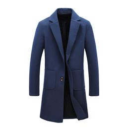 abrigo de trinchera para hombre xs Rebajas Mens Trench Coat 2019 Nuevo diseñador de moda Largo Mens Coat Otoño invierno a prueba de viento Slim Trench Men Plus Size
