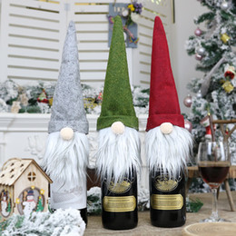 2019 mini alberi di natale azionati da batteria 2020 Caso Bottiglia Nuovo Natale senza volto bambola vino Nordic Terra Dio Babbo Natale Champagne bottiglia di vino Copertura Capodanno Decoration
