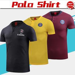 jerseys polo Rebajas 2019 Camisa polo PSG Negro amarillo raya roja Camiseta de fútbol 18/19 PSG Fútbol Polo Uniformes de fútbol Camisetas deportivas