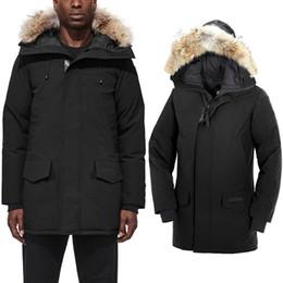 Giacca di lusso di pelliccia online-2020 vestiti Canada Langfordo Mens inverno giù parka caldo Giacca felpa nera Giù progettista Giacche cappotto di pelliccia di lusso cappotto caldo doudoune
