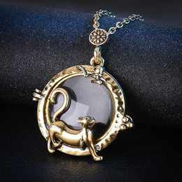 Catene di lenti online-Collana medaglione Maglione gatto animale Collana lunga catena Donna Uomo Gioielli Colletto Collier Lente d'ingrandimento Collane con cabochon