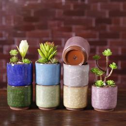 Glace Pilee Mini Ceramique Pot De Fleurs Colore Mignon Flowerpot Pour Bureau Decoration Charnue Plantes Mma2594 Potted