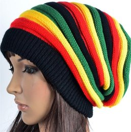 beach hats for girls Coupons - Fashion Winter Beanie Colorful Hat Jamaica Reggae Rainbow Warmer Knitted Head Cap For Women Girl Caps Skull Caps Embroidered Beanies