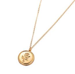 Colar de moeda de ouro vintage on-line-Cor do Ouro do vintage Gravado Rose Flower Colar Apelativo para As Mulheres de Cadeia Longa Pingente Rodada Moeda Colar Collier