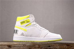 pu fabric code Coupons - 2019 Mens 1 First Class Flight Basketball Shoes Trainers Designer 1s White Yellow Bar Code Women Sneakers Baskets des Chaussures Schuhe