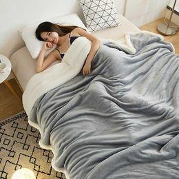 cálidas y acogedoras mantas Rebajas Doble cordero del espesamiento de la cachemira manta del sofá de invierno caliente super tirar las mantas acogedor para Oficina Siesta Aire-Acondicionado Colcha