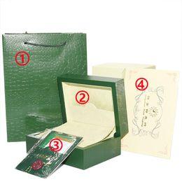Бесплатная Доставка Роскошные Часы Зеленый Оригинальный Box Set Бумаги Подарочные Часы Коробки Кожаная сумка Карты 0.8 КГ Для Rolex Watch Box от