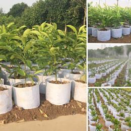 Bolsas de cultivo de árboles online-Tela de árbol no tejida Macetas Bolsa de cultivo Envase de la raíz Bolsa de la planta Mano blanca con flores de siembra bolsas no tejidas Crece Cultura Jardín Bolsa de enfermería