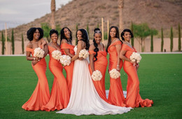 Плюс Размер 2019 сексуальные оранжевые атласные платья невесты без рукавов Русалка 2019 дешевые платья фрейлина для свадеб от Поставщики дешевые апельсины плюс платья для подружек невесты