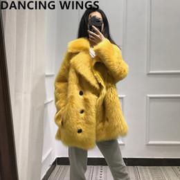 doppelte gesichtspelz Rabatt Winter Frauen Echtpelz Mantel Toskana Wolle doppelseitige Pelzjacke Mode Revers Zweireiher Natürlichen Mantel Frauen