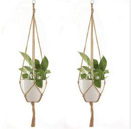 2019 piantati cestini appesi Corda di canapa New Hanger intrecciato Pot Green Plant Flower Pot Hanging Rope Basket Hand Weave piantati cestini appesi economici