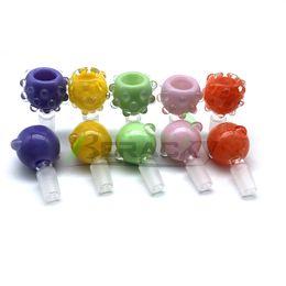 Rauch-tabakpfeife online-Neue 14mm 18mm Männliche Glasschüssel Mit Blasenfarbe Rauchen Schüsseln Glasschüssel Stück Für Glas Wasser Bongs Wasserpfeifen Klopfen Rigs Tabak
