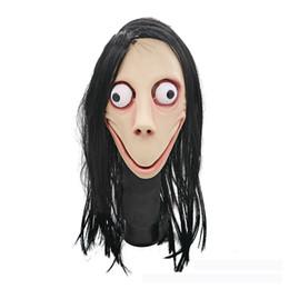 pelucas de latex Rebajas Látex populares Caps apoyo del juego de simulación mujeres terrorista máscara de Halloween de la cara Mujer Fantasma peluca juega al por mayor