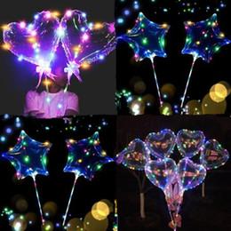 oreiller léger mené en gros Promotion Forme d'étoile Amour Cœur Lumineux LED Clignotant Bobo Ballons 20 pouces Ballon Étincelle Ballons Clignotants De Mariage Fête De Noël Multicolore Décoratif