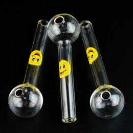 2019 palla di tubo diritto 4 pollici sorriso logo tubo dritto palla bruciatore a nafta cucchiaio di vetro pyrex tubi a mano per accessori per fumatori bruciatore a nafta tabacco strumento all'ingrosso SW15 sconti palla di tubo diritto