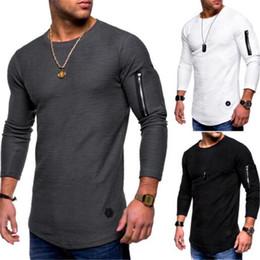 2019 camiseta larga inferior camiseta de los hombres ropa 2019 sudadera hombres camiseta poleron hombre manga larga con cremallera costura de fondo camisa streetwear casual más tamaño 3XL camiseta larga inferior baratos