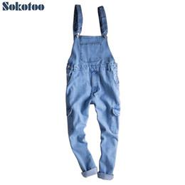 tuta di denim leggera Sconti Sokotoo Tasche lunghezza caviglia uomo cargo blu chiaro salopette in denim Salopette jumpsuit Tute Crop jeans
