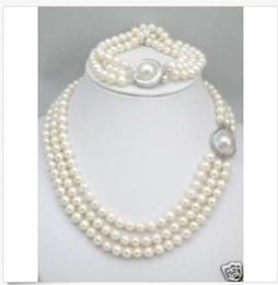 2019 mabe perlen HEISSE dreifache Stränge AAAAAA Südsee weiße Perlen-Halsketten-Armband stellte Mabe Haken ein günstig mabe perlen