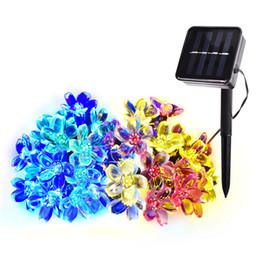 Luces solares de cadena para árboles online-Flor solar Luces de hadas de cadena 21ft 50 LED Jardines de varios colores Césped Árboles de Navidad Luces de Halloween Decoración