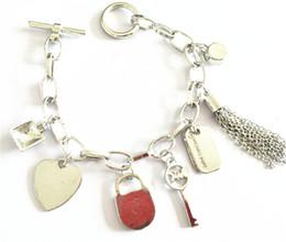 2019 pulseiras de liga pulseira gem HOT Alloy pulseiras chave com amor coração gem 925 prata esterlina ou banhado a ouro pingentes Charm Bracelets Bangle jóias para mulheres dos homens pulseiras de liga pulseira gem barato