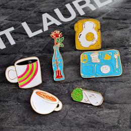 2019 toastbox Kreative Blume Brosche Schmuck Tasse Emaille Pin Omelett Toast Revers Pin Gemüse Roll Lunch Box Pins und Broschen für Männer Drop Shipping günstig toastbox