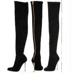 US $22.68 28% OFF|Famous Brand Bling Boots Woman Stretch Over Knee Sock Boot SlimPointed Toe Thin High Heels Chelsea Boots Long Botas Winter Shoes in
