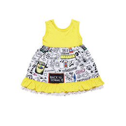 2019 volante trasero del chaleco Baby Girl Vestidos geométricos Chaleco amarillo Carta de encaje Volantes Hasta la rodilla Vestido de regreso a la escuela Ropa de diseñador para niños Vestido de verano para niñas volante trasero del chaleco baratos