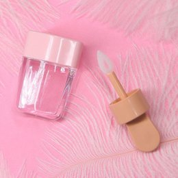 Borracha de batom on-line-Amostra Garrafa 3.2x6.8cm doce Ice Cream Forma Mini Lip Gloss tubo vazio Lid Lip Balm Container Com Rosa Borracha Inserções Lipstick