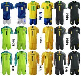 camiseta de portero juvenil Rebajas Juvenil Brasil Portero Jersey Niños Portero Fútbol 23 EDERSON Jersey Set 1 ALISSON CAFU CASSIO Kits de camiseta de fútbol para niños Uniforme