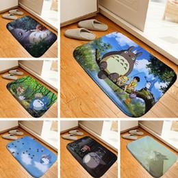 Baños a medida online-Alfombra de baño de la historieta Totoro Impreso Alfombra Alfombra Aseo franela no del resbalón baño de estera absorbente baño 40x60cm Custom Floor