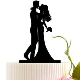 Schwarze hochzeitsdekoration online-Hochzeitstorte Karte schwarz romantische Braut Bräutigam Kuchen Einfügen Dekoration Herr Frau Hochzeit Party Decor Zubehör HHA744