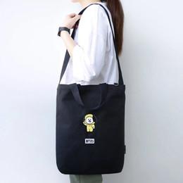 2019 honda de algodón bolsas mujeres Kpop Bangtan Boys Cartoon bolsa de algodón de alta calidad CHIMMY COOKY TATA bolso de hombro bordado mujeres niñas honda honda de algodón bolsas mujeres baratos