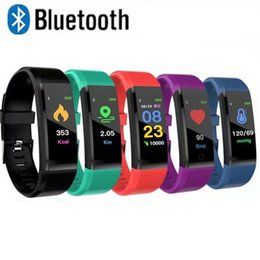 wholesale gps tracker for vehicle Promo Codes - 115Plus smart fitness sports bracelet tracker color screen blood pressure heart rate monitor female watch for ios Android mobile phone