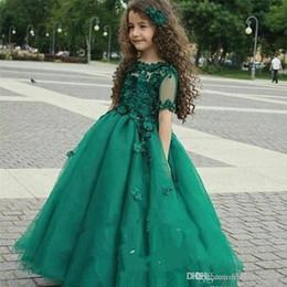 abbastanza caldi abiti Sconti 2019 Hunter Green Hot Girl Princess Girl Dress Pageant Vintage Arabo Sheer Maniche corte Party Flower Girl Vestito carino per Little K