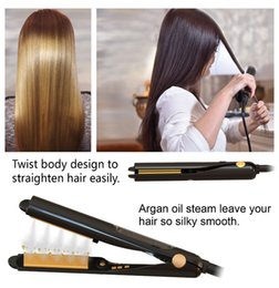 curlers de cabelo a vapor Desconto Tamax HS003 Ferro Vapor Flatline Curler Flat Iron Profissional Argan Oil Tratamento de Cabelo Infundido Vapor de Cerâmica para Alisamento de Cabelo Onda