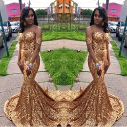 lentejuelas reflectantes Rebajas Lentejuelas reflectantes de oro Vestidos de baile 2019 Sirena africana Fuera del hombro Vestidos de baile Vestir de fiesta Vestido de fiesta de noche formal Más el tamaño