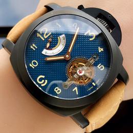 Canada 45 mm d'énergie cinétique volant mécanique mouvement automatique 316 boîtier noir montres mécaniques navales hommes montre broche boucle bracelet en cuir A18-1 cheap black kinetic watch Offre