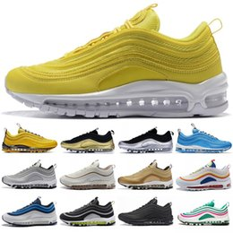 Zapatos corrientes de las nuevas mujeres online-Nuevo 1997 Zapatillas de running 1997 OG Amarillo oro Plata Bullet Hombres Zapatos Mujer Entrenadores Tamaño 36-45