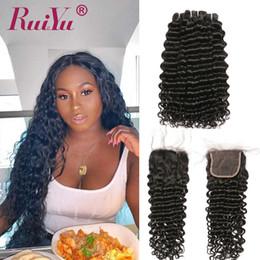 Extensões remy baratas do cabelo on-line-Cheap 8A Mink cabelo humano brasileiro tece com fecho Kinky Curly Remy Virgens madeixas com fecho onda profunda extensões Ruiyu