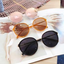 корейские модные очки Скидка designer Womens polarized sunglasses round frame sunglasses Korean trendy retro tawny glasses 2019 new fashion sunglasses
