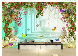 Custom 3d Silk Photo Mural Wallpaper Fantasy Heart Shaped Flower Cluster Photo Studio Wedding Background 3d Tv Background Mural Wall Sticker