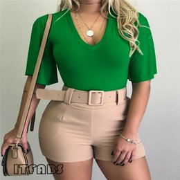 Женские модные твёрдые майки онлайн-Trendy Summer Women clothes solid pullover Short Sleeve T-Shirts V-Neck Polyester Ladies Casual Loose Tops one pieces