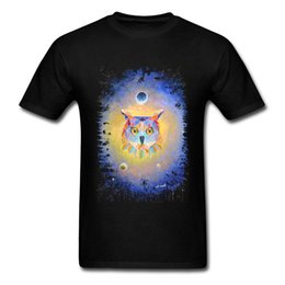 T-shirt di design d'arte online-Geometric Owl Tops Uomo T-shirt Stampata Tee Shirts Art Design Abbigliamento Estate Nero Maglietta Awesome Skaters Streetwear Cotton