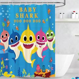 baby-zimmer vorhänge Rabatt Nette Baby Shark Bad Vorhänge Digital Gedruckt Polyester Bad Vorhang Fit Haushalt Bad Liefert Mit 12 Haken 27js E1